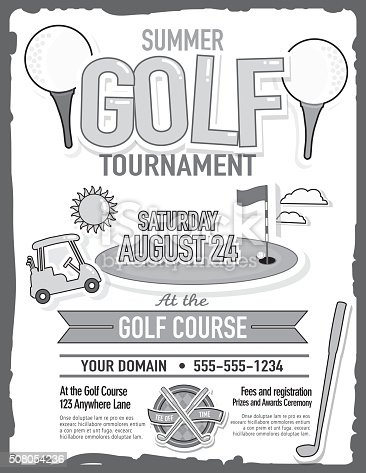 Vector illustration of summer golf tournament invitation layout or poster advertisement design template. Green, cheerful orange colors.  Includes sample text design elements and golf green, golf course and golf cart background. Perfect for golf outing, tournament, golf course advertisement poster and charity sporting event. See my portfolio for other invitations and golf concepts.