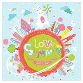 Cute summer greeting card in vector.