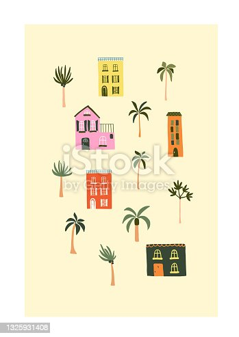 Cute summer houses on beach with palm trees. Cozy hygge scandinavian style template for postcard, greeting card, t shirt design. Vector illustration in flat hand drawn cartoon style