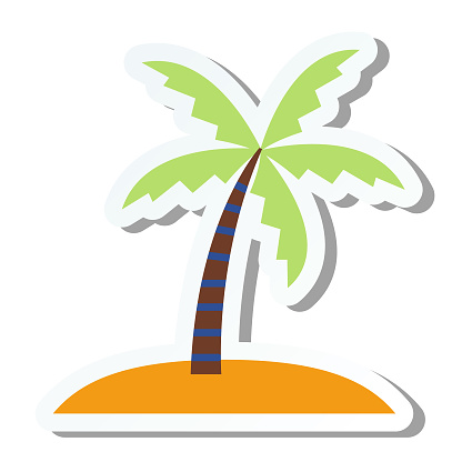 Cute Summer Icon On a Trasparent Base - Island stock illustration