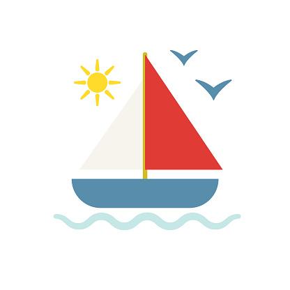 Cute Summer icon On A Trasparent Base - Sailboat
