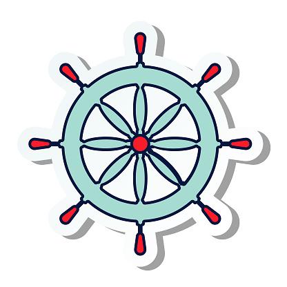 Cute Summer Icon On a Trasparent Base - Ship Wheel stock illustration
