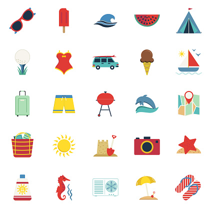 Cute Summer icons On A Trasparent Base