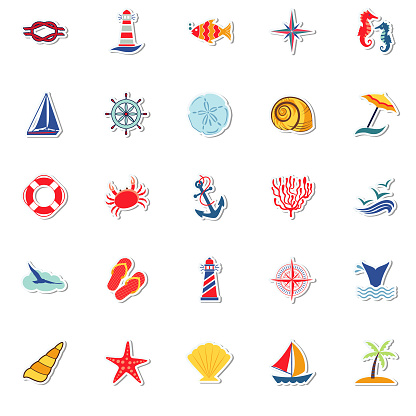 Cute Summer Icons On Trasparent Bases -  Stock Illustration