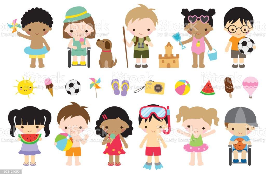 かわいい夏子供の活動 ベクターアートイラスト