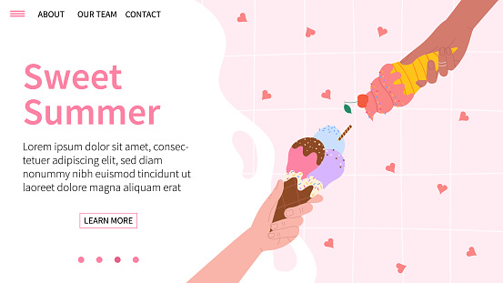 Cute summer landing page with ice cream in hands on pink background. Vector illustration.