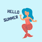 Cute summer mermaid scandinavian drawing with text for poster and t-shrit. Baby and children fashion greeting design.