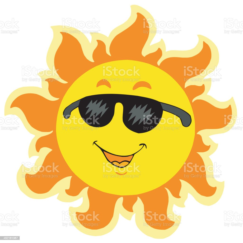 Cute summer Sun with sunglasses royalty-free cute summer sun with sunglasses stock vector art & more images of anthropomorphic smiley face