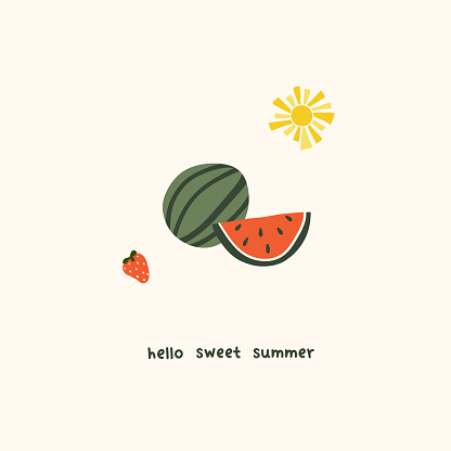 Cute summer watermelon  slices and strawberry. Cozy hygge scandinavian style template for postcard, greeting card, t shirt design. Vector illustration in flat hand drawn cartoon style