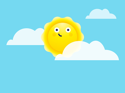 Cute sun among clouds