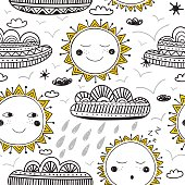 Vector cute sun and clouds childish seamless pattern. Can be used as a background, pattern, wrapping paper, backdrop, wallpaper or as bag template, print for packet etc.