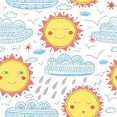 Vector cute sun and clouds childish seamless pattern. Isolated, colorful. Can be used as a background, pattern, wrapping paper, backdrop, wallpaper or as bag template, print for packet etc.