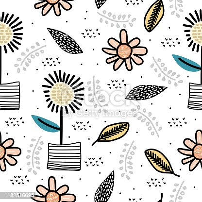Cute sun flower seamless pattern with children drawing scandinavian art background. Botanical cartoon nature elements for baby and kids fashion textile vector illustration.