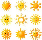 Cute sun. Hand drawn sunshine. Summer morning sunrise. Doodle vector warming joy icons isolated