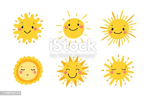 Cute Sun Icon Vector Set. Hand Drawn Doodle Different Funny Suns