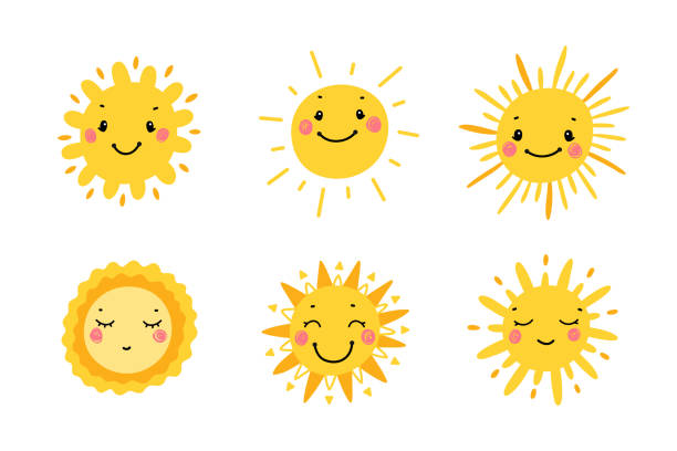 illustrazioni stock, clip art, cartoni animati e icone di tendenza di cute sun icon vector set. hand drawn doodle different funny suns - sorriso