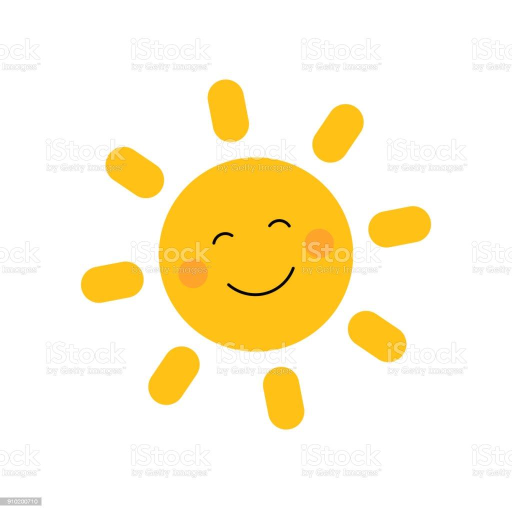 Süße Sonne mit Lächeln – Vektorgrafik