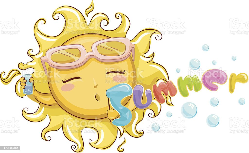 Cute Sun With Summer Text royalty-free cute sun with summer text stock vector art & more images of color image