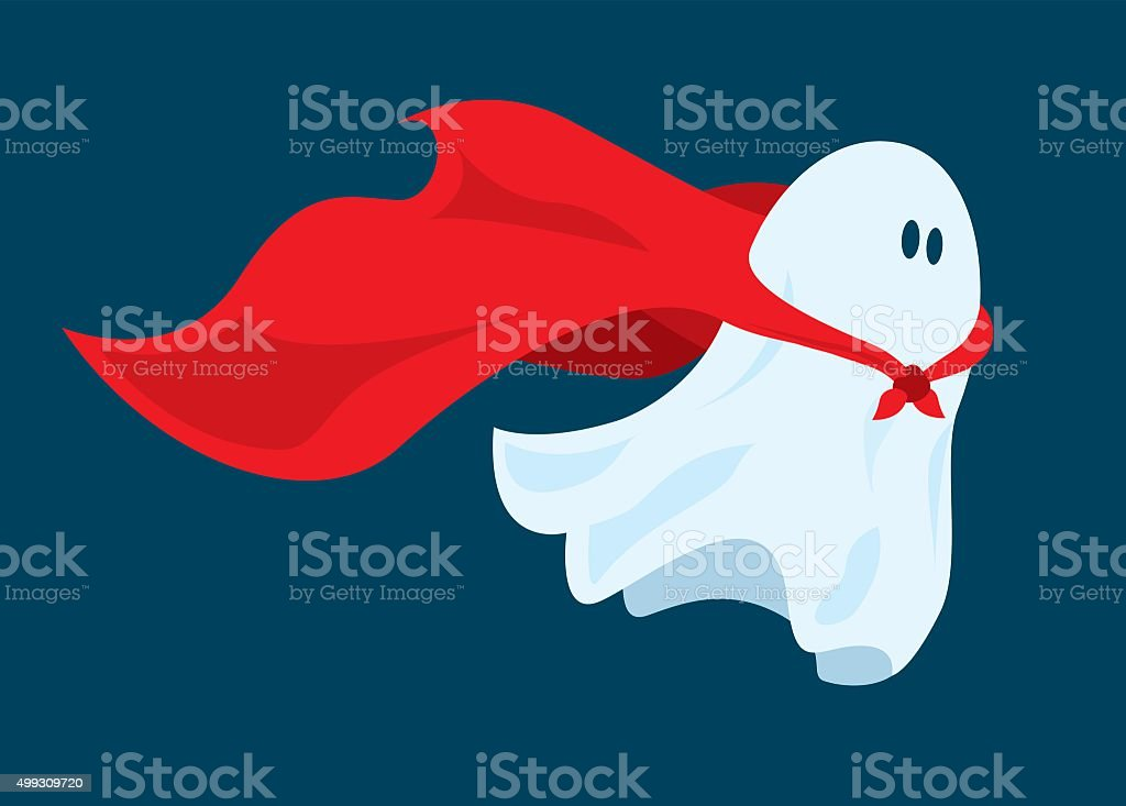 Cute super hero ghost flying with cape vector art illustration