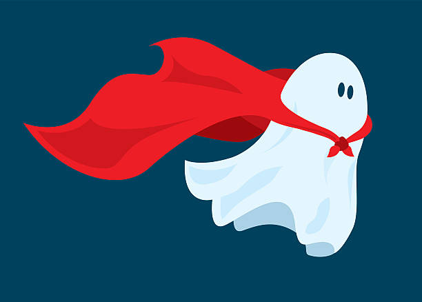 bildbanksillustrationer, clip art samt tecknat material och ikoner med cute super hero ghost flying with cape - spöke