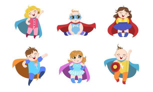 ilustrações de stock, clip art, desenhos animados e ícones de cute superhero babies set, happy adorable boys and girls in costumes of superhero and capes vector illustration - baby super hero