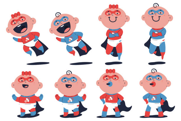 ilustrações de stock, clip art, desenhos animados e ícones de cute superhero baby boy and girl vector cartoon characters set isolated on white background. - super baby
