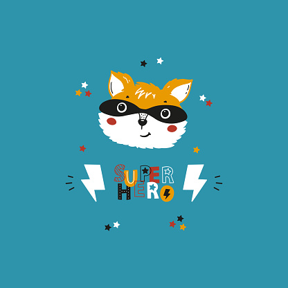 Cute Superhero Fox or Raccoon in Mask Poster. Forest Animal Head Vector Drawing for Tee Print for Kids.