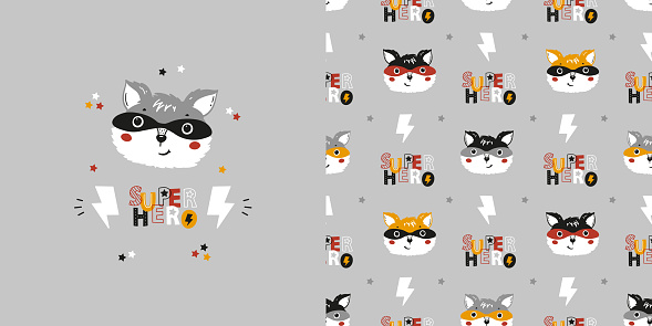 Cute Superhero Fox or Raccoon in Mask Set of Seamless Pattern and Poster. Childish Background with Forest Animal Heads. Vector Drawing for Tee Print for Kids.