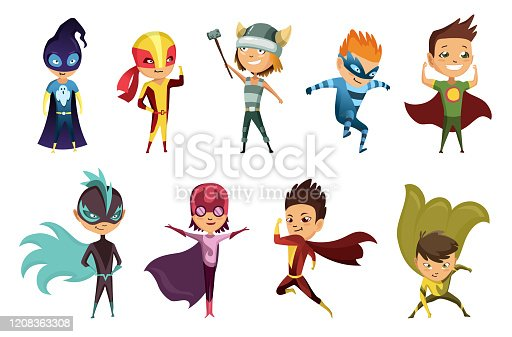 Cute superhero kids in colorful costumes. Kids Dressed as Superheroes. Funny Flat Isolated Vector Design Icons Set On White Background. Set of kids wearing superhero costumes with different pose.