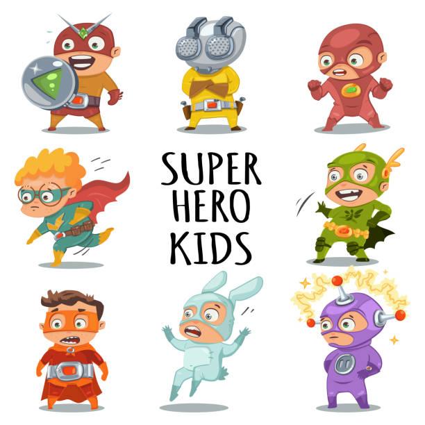 ilustrações de stock, clip art, desenhos animados e ícones de cute superhero kids in colorful costumes. vector cartoon characters set isolated on white background. - super baby