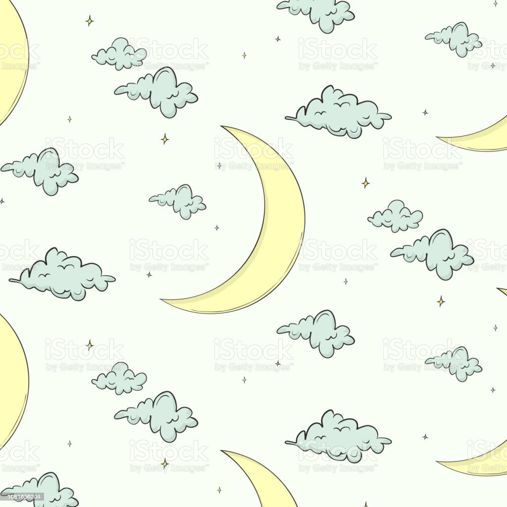 Cute Surface Kids Pattern With Moon Clouds Stars Baby Boy