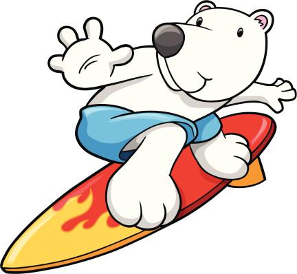 Cute Surfing Polar Bear