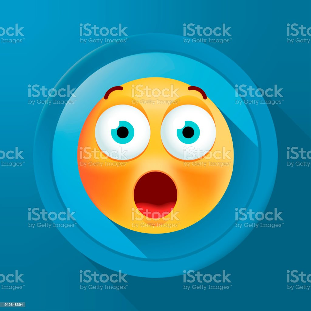 Cute Surprised Emoticon on Color Button on Color Background . Isolated Vector Illustration vector art illustration