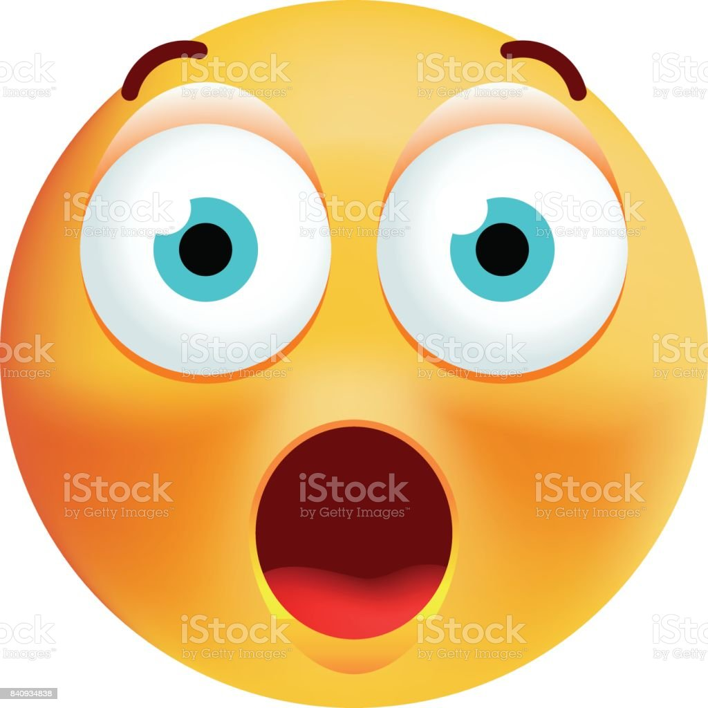 Cute Surprised Emoticon on White Background vector art illustration