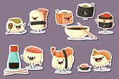 Cute sushi character cartoon vector set.