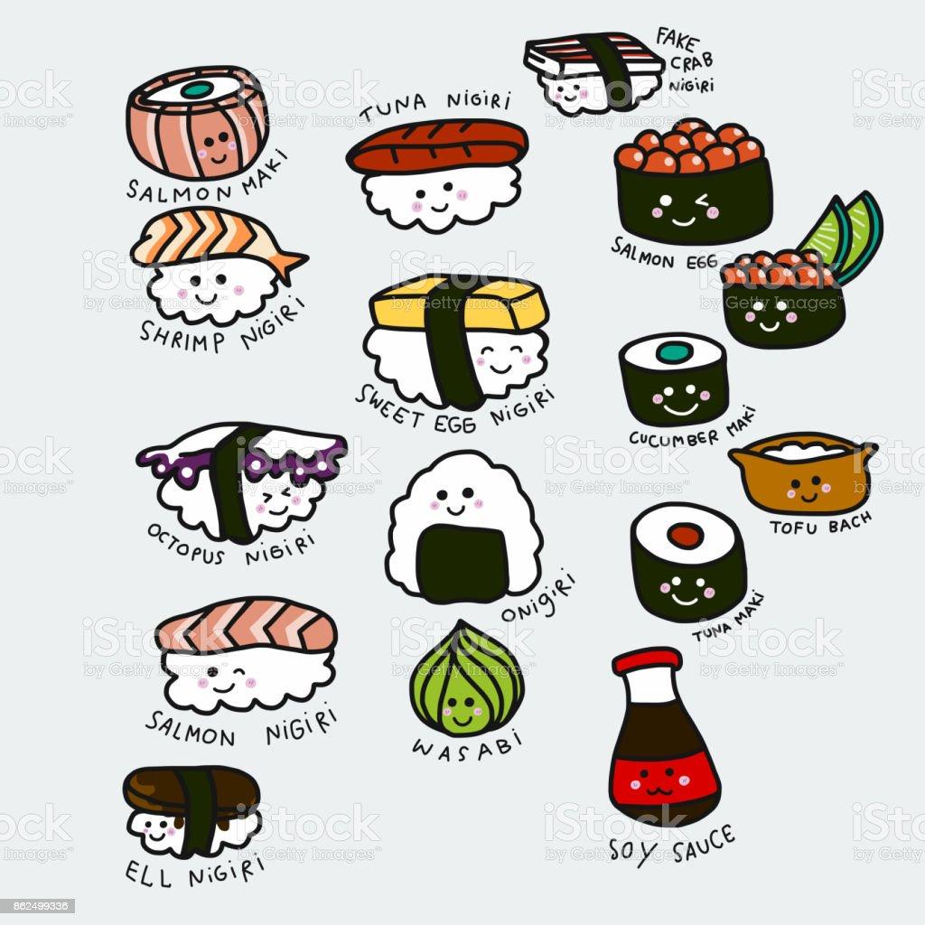 Ilustración de vector de dibujos animados conjunto lindo sushi doodle estilo - ilustración de arte vectorial