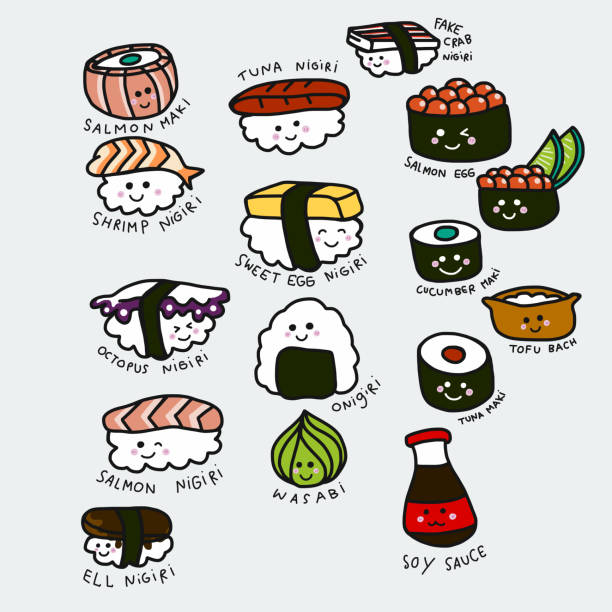 Mignon sushi set vector illustration doodle animés - Illustration vectorielle