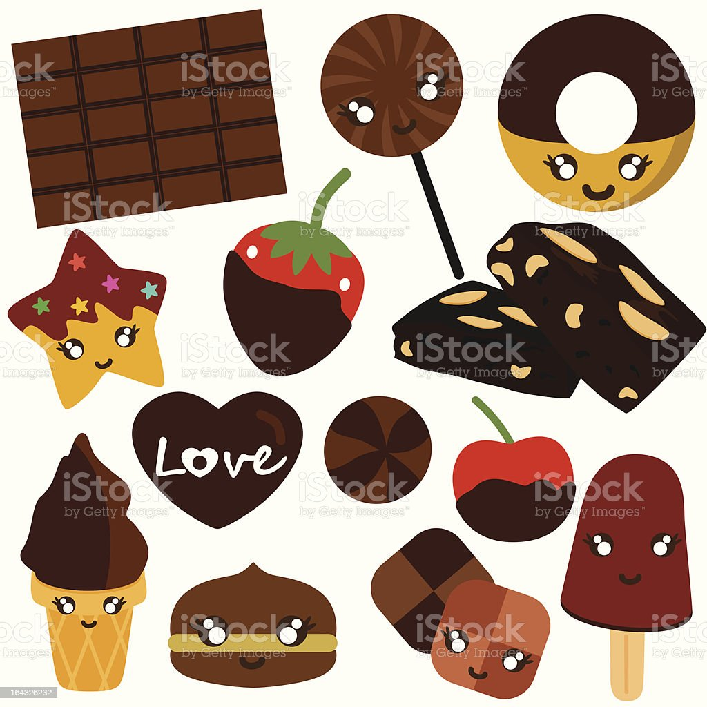 Cute Sweet Candy, Chocolate (vector Icons) Set# 5 vector art illustration