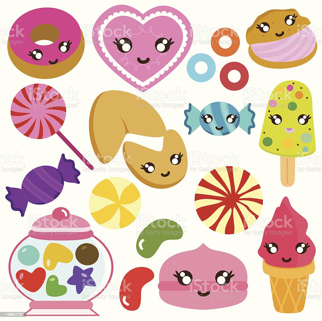 Cute Sweet Candy, Strawberry (vector Icons) Set# 4 royalty-free cute sweet candy strawberry set 4 stock vector art & more images of anthropomorphic smiley face