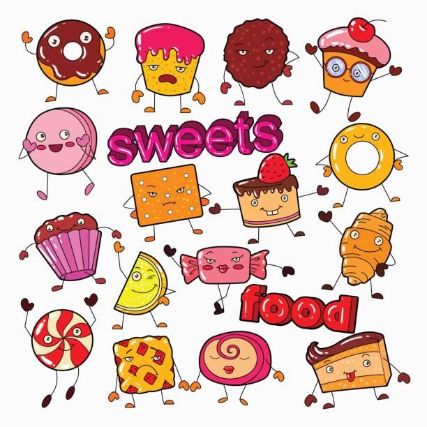 süß süß essen süßigkeiten zeichen doodle mit cookie, cupcake und lollipop - wackelpuddingkekse stock-grafiken, -clipart, -cartoons und -symbole