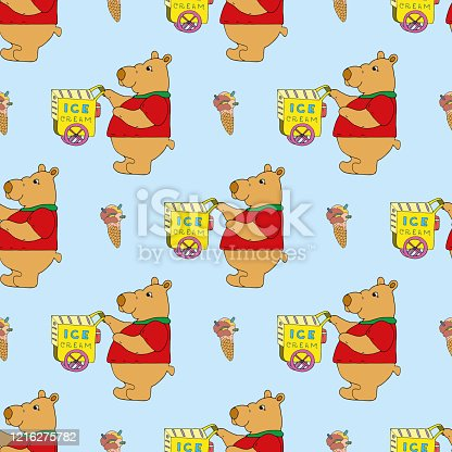 Cute sweet tooth bear in red t-shirt sells ice cream with street cart. Ice cream shop on wheels. Seamless pattern. Design for wrapping paper, wallpaper, packaging, card. Hand drawn cartoon vector art.