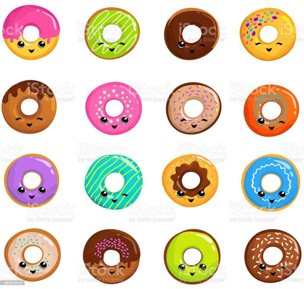 日本かわいいスタイルのベクトルのセットのかわいいお菓子ドーナツ