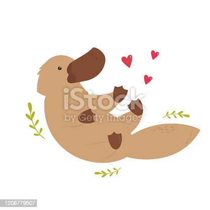 istock Cute swimming platypus. Animal character design. Australian fauna. Vector illustration 1206779507