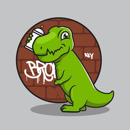 Cute t rex dino sub culture punk mascot design