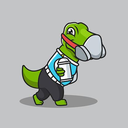 Cute t rex dino sub culture punk mascot