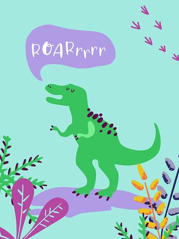 Cute T Rex Dinosaurus for Poster Print, Baby Greetings Illustration, Dino Invitation, Children Dinosaur Store Flyer, Brochure, Book Cover in vector