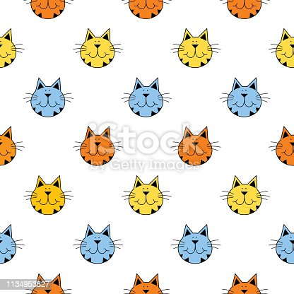 istock Cute Tabby Cat Faces Seamless Pattern 1134953827