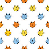 Vector seamless pattern of cute tabby cat faces on a white background.