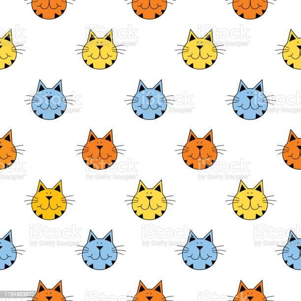 Cute tabby cat faces seamless pattern vector id1134953827?b=1&k=6&m=1134953827&s=612x612&h=8fd9xevntnl8bamqo4afibxkctt4yy6ongpq3eum0bk=