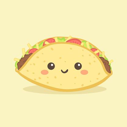 Cute Taco Mexico Fast Food Vector Cartoon